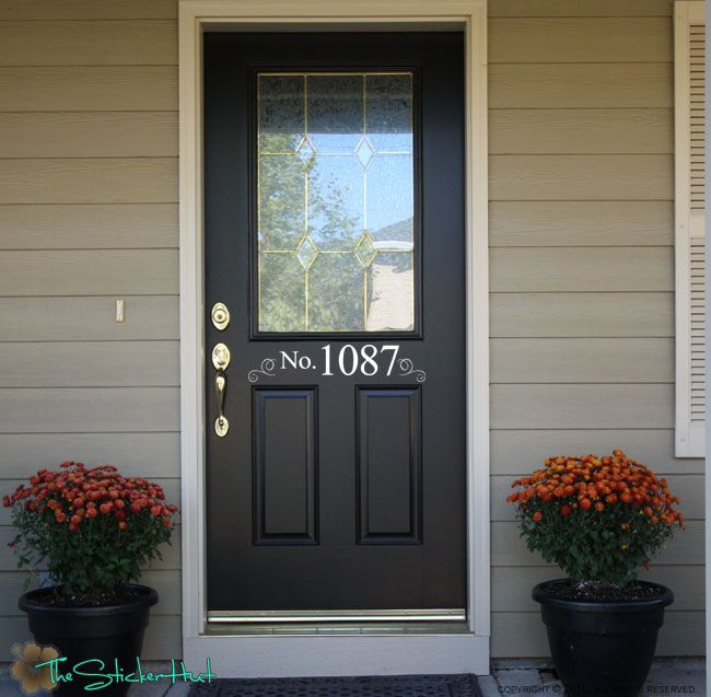Your Address Front Door Vinyl Decals Stickers 970